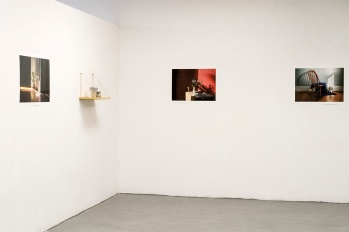 Installation View, Cyanotype Ceramics, Shelves, Archival Inkjet Prints