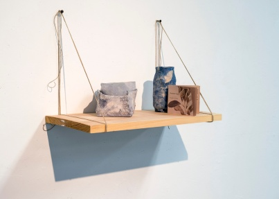Installation View, Cyanotype Ceramics, Booklet, Shelves